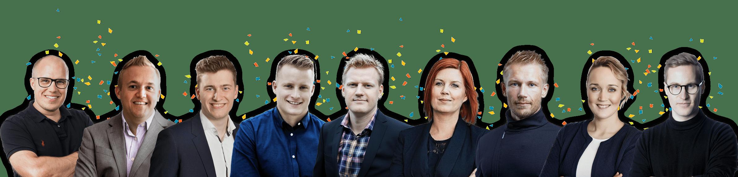Eksperter i online markedsføring marketing kursus instruktører konfetti