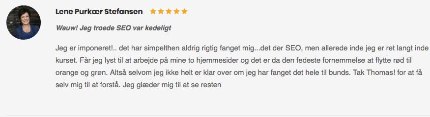Lene Purkær Stefansen Wauw! jeg troede SEO var kedeligt anmeldelse