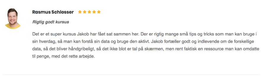 Rasmus Schlosser Rigtig godt kursus anmeldelse
