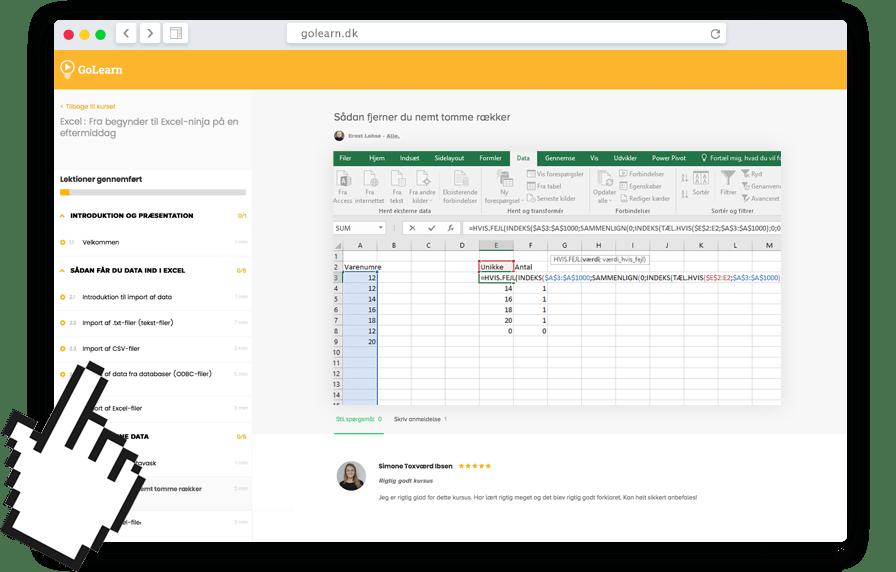 Online kursus eksempel på Excel ligning formel Pivot tabel