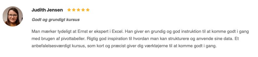 Judith Jensen anmeldelse Godt og grundigt kursus Excel